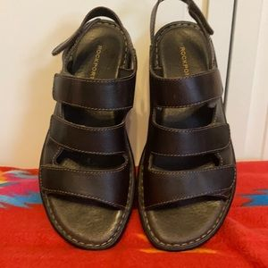 Rockport Brown Leather Sandals Size 7W